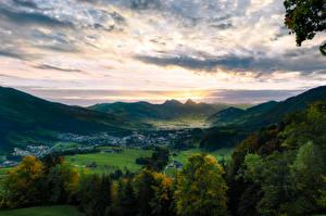 Обои Швейцария Горы Озеро Небо Долина Деревья Альпы Lake Lauerz, Arth-Goldau Природа