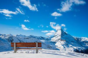 Фотографии Швейцария Гора Небо Снеге Скамейка Облако Альп Zermatt, Near Blauherd