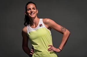 Фотографии Теннис Поза Улыбается Руки Татуировка Сером фоне Karolina Pliskova спортивная Девушки