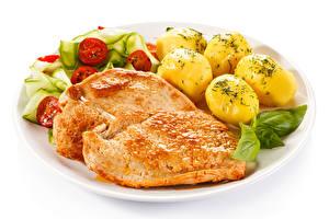 Картинка Вторые блюда Картофель Мясные продукты Овощи Белым фоном