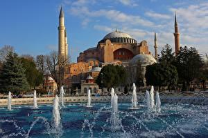Фотография Турция Стамбул Мечеть Собор Фонтаны Башня город