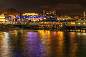 Картинки США Побережье Дома Калифорнии Кафе Ночные Лучи света Redondo Beach город