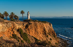Фото Штаты Побережье Маяки Калифорния Скалы Пальм Point Vicente Lighthouse, Rancho Palos Verdes Природа