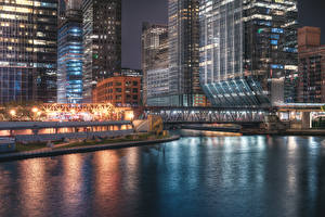 Картинки Штаты Здания Мост Вечер Чикаго город Залива город