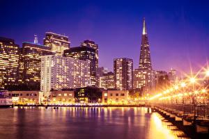 Обои США Небоскребы Дома Сан-Франциско Ночью Уличные фонари город