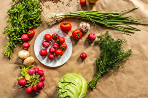 Фото Овощи Редис Томаты Капуста Укроп Зелёный лук Чеснок Тарелка Продукты питания