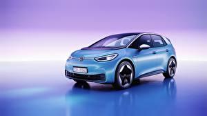 Фото Фольксваген Цветной фон Голубая ID.3, all-electric hatchback авто