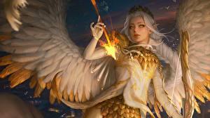 Картинки Ангел Пламя Лучники Эльфы Стрелы Крылья by Ina Wong, Keyria Amaryth