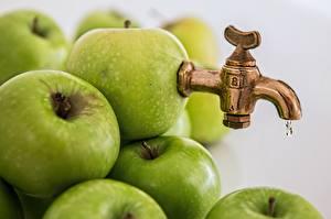 Обои Яблоки Оригинальные Зеленый Кран водопроводный Юмор