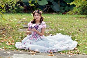 Картинки Азиатка Букет Платья Сидит Улыбается Взгляд Девушки