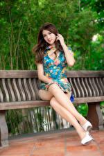 Картинка Азиаты Шатенка Скамейка Сидит Ноги Платья Смотрят Красивая девушка
