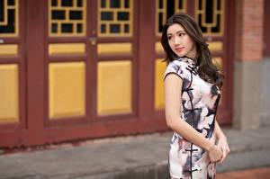 Обои Азиаты Шатенка Платья Руки Взгляд Размытый фон девушка