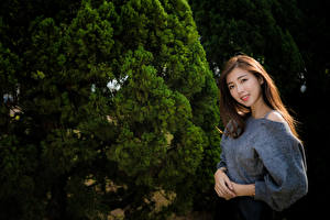 Фото Азиатка Шатенки Улыбка Взгляд молодая женщина