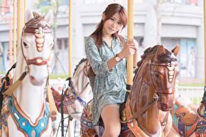 Фото Азиатки Лошадь Шатенки Сидящие Карусели девушка