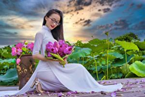 Фотография Азиатка Лотос Букеты Брюнетка Очки Сидит Платья Лепестков молодые женщины