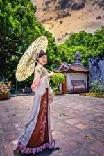 Картинка Азиаты Зонтом Брюнеток Поза Платья HDR Девушки