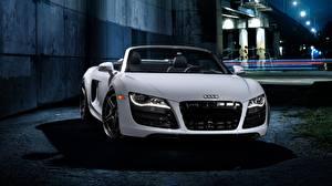 Обои Audi Белые Металлик Родстер Спереди Фар R8 авто