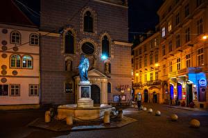 Фотографии Австрия Вена Дома Памятники Камни Ночные Улиц Уличные фонари Города