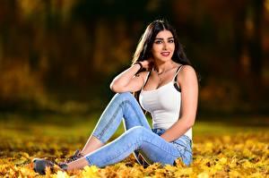 Фотография Осень Сидящие Лист Джинсов Майка Взгляд Боке Брюнетка Anita молодая женщина Природа