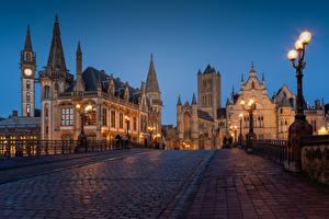 Фотография Бельгия Гент Дома Вечер Мосты Улиц Уличные фонари Башня Города