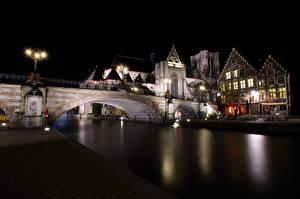 Фото Бельгия Гент Речка Мост Здания Ночные Уличные фонари St Michael's Bridge город