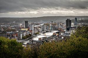 Картинка Бельгия Дома Речка Мосты Дерево Сверху Liège city, Maas river город