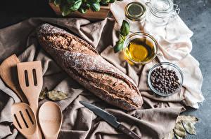 Обои Хлеб Нож Перец чёрный Еда