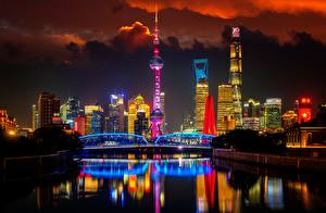 Фотографии Мосты Шанхай Китай Башни Ночь Huangpu River, Oriental Pearl Tower город