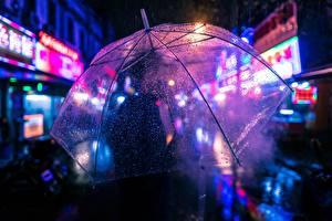 Картинки Вблизи Зонт Капли Ночь