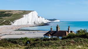Фотография Побережье Море Англия Скала Seven sisters national Park, East Sussex