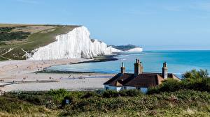 Фотография Побережье Море Англия Скала Seven sisters national Park, East Sussex Природа