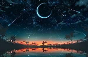 Обои Лунный серп Небо Звезды Рассвет и закат Озеро Силуэта