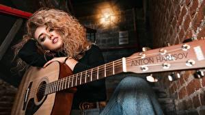 Фотография Кудрявые С гитарой Красивая Волосы Anton Harisov, Lerochka Polovinchik Девушки