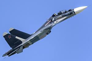 Обои Истребители Су-30 Самолеты Сбоку Российские Su-30SM Авиация