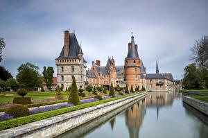 Фотография Франция Замки Башня Деревья Водный канал Maintenon, Château de Maintenon