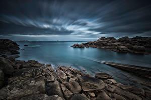 Фото Франция Берег Камень Вечер Brittany, Ploumanac'h Природа