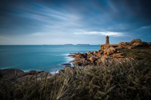 Фотографии Франция Берег Камни Маяки Море Brittany, Ploumanac'h, Mean Ruz Природа