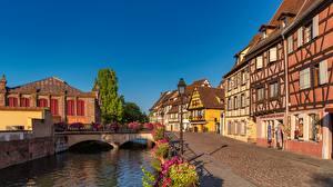 Фотографии Франция Дома Мост Водный канал Набережная Colmar город