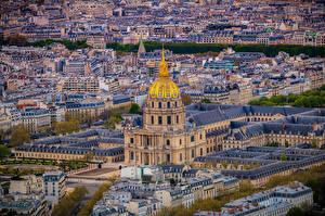 Фотография Франция Дома Париже Сверху Montmartre Города