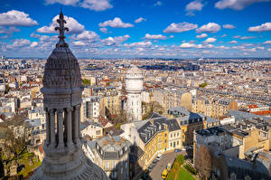 Фотографии Франция Дома Париж Улиц Сверху Облако Башни Города
