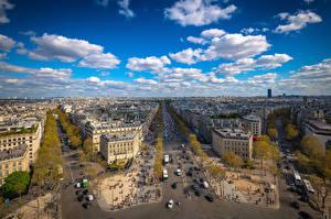 Обои Франция Здания Небо Париже Улиц Облака Сверху Place Charles de Gaulle Города