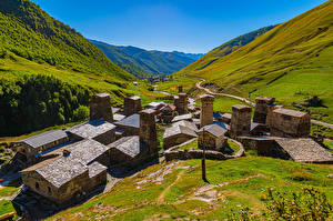 Обои Грузия Гора Здания Долина Ushguli village, Svaneti
