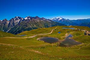 Картинка Грузия Горы Озеро Небо Koruldi lakes, Mestia, Svaneti Природа