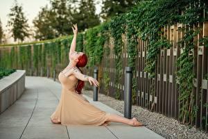 Картинка Georgiy Dyakov Позирует Платья Руки Балете Рыжая молодая женщина