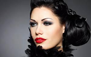Картинка Сером фоне Лицо Смотрит Макияж Красные губы Брюнетка Девушки