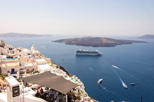 Фотографии Греция Остров Море Круизный лайнер Сверху Santorini, Aegean sea Природа