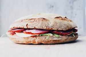 Картинка Гамбургер Булочки Вблизи Ветчина