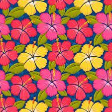 Картинки Гибискусы Текстура Рисованные Цветы