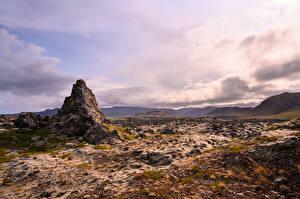 Фотография Исландия Камень Облака Скале Природа