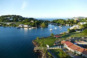 Картинка Остров Море Заливы Saint Lucia, Caribbean sea Города